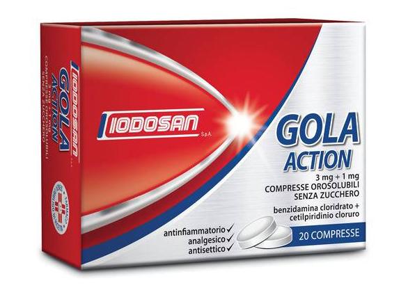 Iodosan Gola Action 3mg+1mg Trattamento Antinfiammatorio Della Gola 20 Compresse Orosolubili Senza Zucchero - Farmajoy