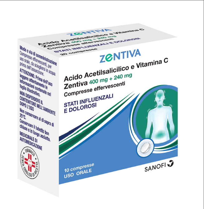 ACIDO ACETILS VIT C ZEN* 400mg+240mg  10 Compresse Effervescenti - farmaventura.it
