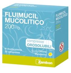Zambon Fluimucil Mucolitico 200mg Trattamento Affezioni Respiratorie 20 Compresse Orosolubili - Turbofarma.it