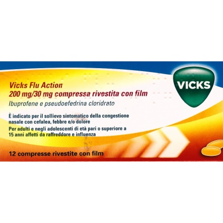 VICKS FLU ACTION*12CPR200+30MG - Farmacia Castel del Monte