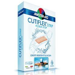 CEROTTO MASTER-AID CUTIFLEX STRIP TRASPARENTE IMPERMEABILE SUPPORTO IN POLIURETANO MEDIO 10 PEZZI - Farmabros.it