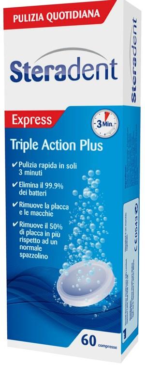 STERADENT TRIPLE ACTION PLUS 60 COMPRESSE PULENTI - sapofarma.it