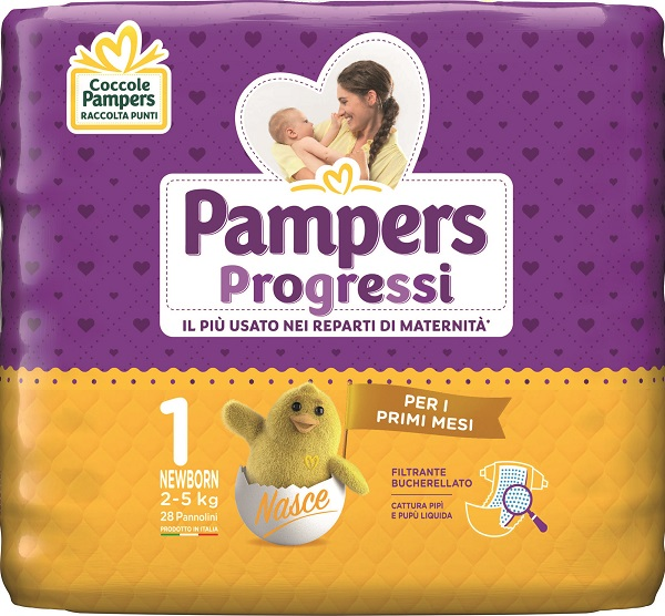 PAMPERS PROGRESSI NEWBORN PANNOLINO 1 2-5KG 28 PEZZI - Farmaciasconti.it