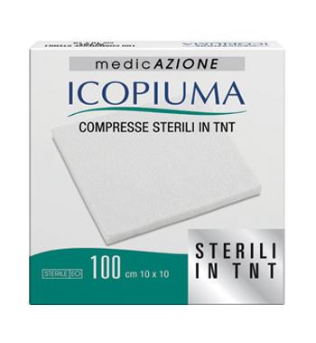 GARZA COMPRESSA IN TESSUTO NON TESSUTO ICOPIUMA ADESIVA 10X10 CM 100 PEZZI - Carafarmacia.it
