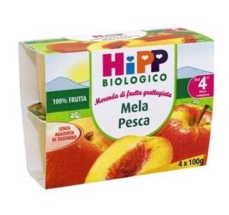 HIPP BIO FRUTTA GRATTUGGIATA MELA PESCA 4X100 G - Farmapass