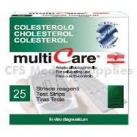 TEST COLESTEROLEMIA MULTICARE COLETEROLO IN STRISCE CHIP 25 PEZZI - latuafarmaciaonline.it