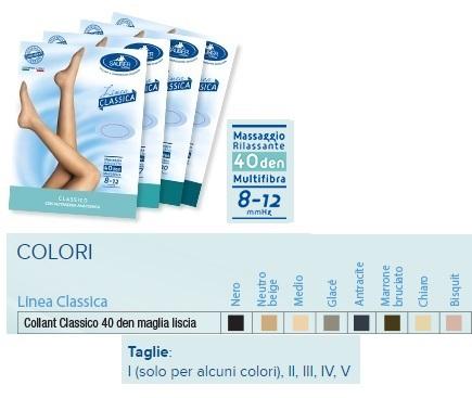 Sauber Linea Classica Collant in Maglia Liscia 40 Den Colore Marrone Bruciato Taglia  4