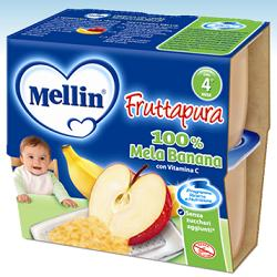 MELLIN FRUTTA PURA MELA BANANA 100 G 4 PEZZI - farmasorriso.com
