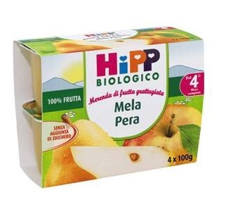 HIPP BIO FRUTTA GRATTUGGIATA MELA PERA 4X100 G - Farmaci.me