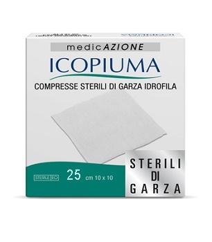 GARZA COMPRESSA IDROFILA ICOPIUMA 10X10CM 25 PEZZI - Zfarmacia