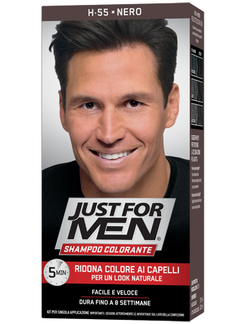 JUST FOR MEN SHAMPOO COLORANTE H55 NERO ATTIVATORE CHIARO 38,5 ML + BASE COLORE 27,5 ML - Farmaciapacini.it