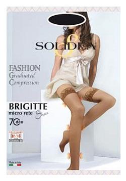 Solidea Brigitte Micro Rete Sheer 70 DEN Autoreggente Compressiva Colore Nero Taglia 4