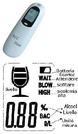 AT126 ETILOMETRO ELETTRONICO RILEVAZIONE ALCOOL NELL'ESPIRATO - La tua farmacia online