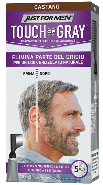 JUST FOR MEN TOUCH OF GRAY CASTANO 40 G - La farmacia digitale