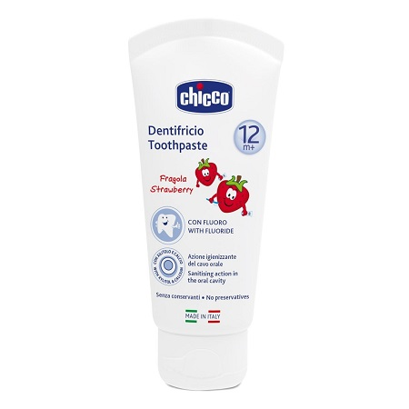 CHICCO DENTIFRICIO FRAGOLA 50 ML 12M+ CON FLUORO - Farmaciasconti.it