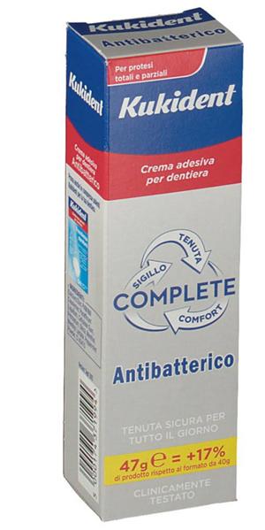 KUKIDENT COMPLETE CREMA ADESIVA PER PROTESI DENTARIE CON ANTIBATTERICO 47 G - Farmacia Centrale Dr. Monteleone Adriano