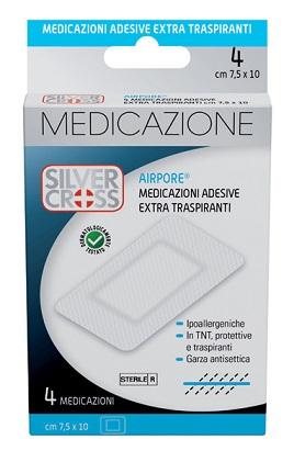 SILVERCROSS AIRPORE MEDICAZIONE ADESIVA 7,5X10CM 4 PEZZI - Carafarmacia.it