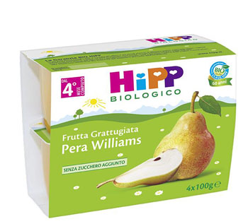 HIPP BIO HIPP BIO FRUTTA GRATTUGGIATA PERA WILLIAMS 4X100 G - Farmajoy