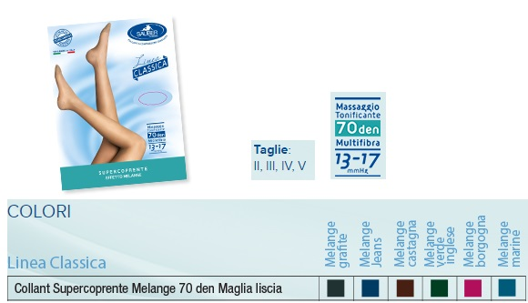 Sauber Linea Classica Collant Supercoprente Melange 70 Den Jeans Taglia 2