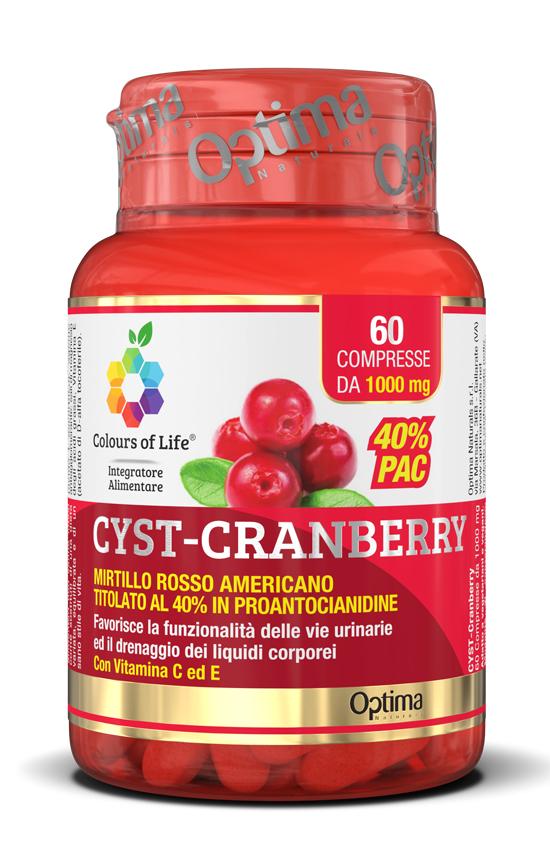 Optima Colours of Life Cranberry Integratore Benessere Vie Urinarie 60 Compresse