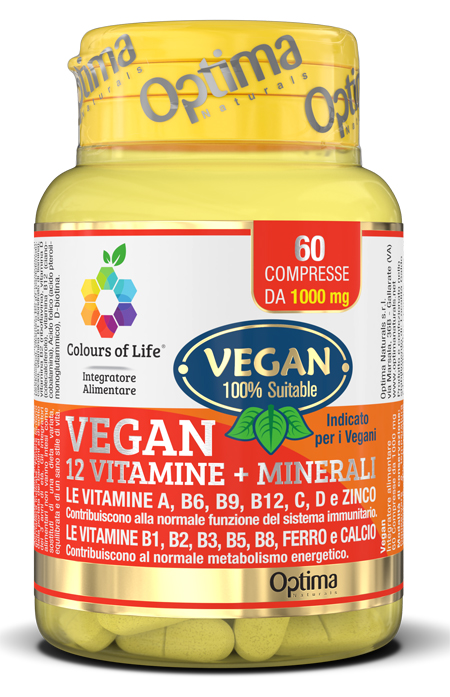 COLOURS OF LIFE VEGAN 12 VITAMINE + 3 MINERALI 60 COMPRESSE - Farmaseller