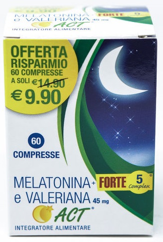 MELATONINA ACT 1MG +VALERIANA 5 FORTE COMPLEX 60 COMPRESSE - Farmafamily.it