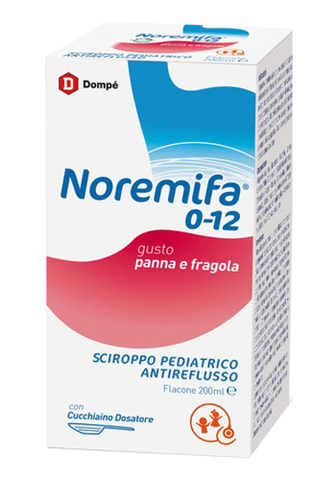 SCIROPPO PEDIATRICO ANTIREFLUSSO NOREMIFA 0-12 FLACONE 200 ML GUSTO PANNA E FRAGOLA - Farmaseller