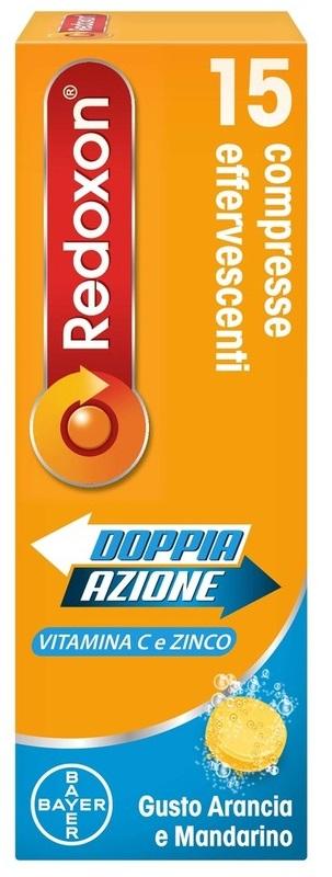 REDOXON DOPPIA AZIONE 15 COMPRESSE EFFERVESCENTI VITAMINA C ZINCO ARANCIA E MANDARINO 45,78 G - Farmacielo