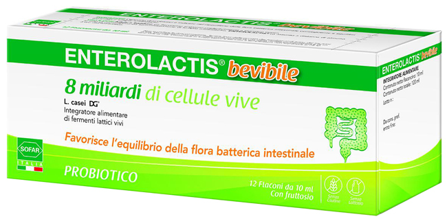 Enterolactis 12 Flaconcini Fermenti Lattici Intestino Integratore Adulti Bambini  - Farmastar.it