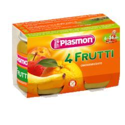 PLASMON OMOGENEIZZATO 4 FRUTTI 2 X 104 G - FARMAEMPORIO