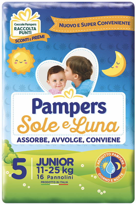 PANNOLINO PER BAMBINO PAMPERS SOLE & LUNA FLASH JUNIOR 16 PEZZI - farmaciafalquigolfoparadiso.it