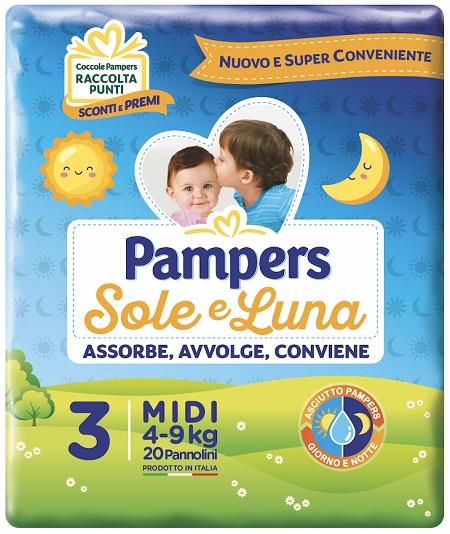PANNOLINO PER BAMBINO PAMPERS SOLE & LUNA MIDI 20 PEZZI - Carafarmacia.it