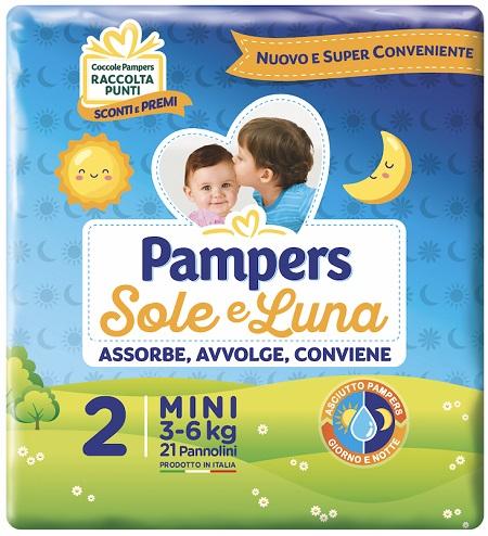 PANNOLINO PER BAMBINO PAMPERS SOLE & LUNA FLASH MINI 21 PEZZI - Zfarmacia