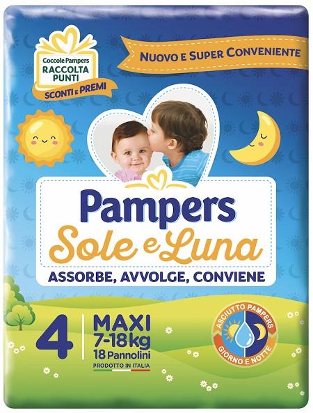 PANNOLINO PER BAMBINO PAMPERS SOLE & LUNA MAXI 18 PEZZI - Farmaciapacini.it