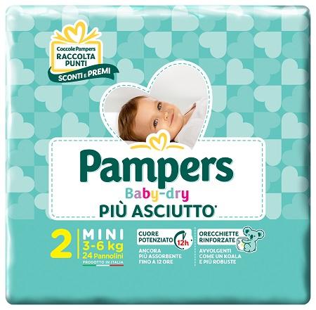 PANNOLINI PER BAMBINI PAMPERS BABY DRY DOWNCOUNT NO FLASH MINI 24 PEZZI BUONO SCONTO - Speedyfarma.it