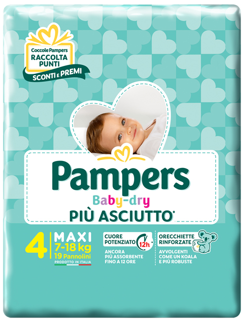 PANNOLINI PER BAMBINI PAMPERS BABY DRY DOWNCOUNT NO FLASH MAXI 19 PEZZI - farmaciafalquigolfoparadiso.it