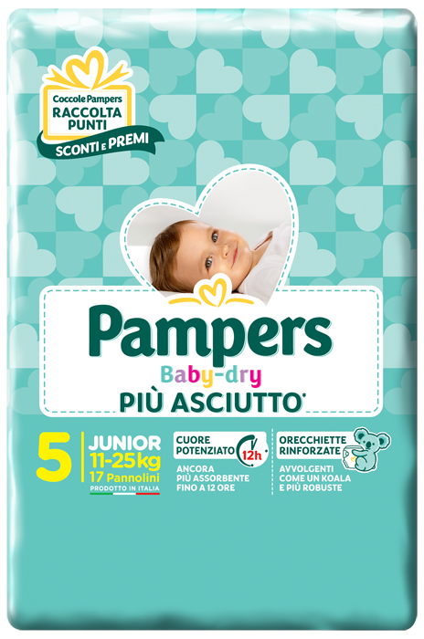 PANNOLINI PER BAMBINI PAMPERS BABY DRY DOWNCOUNT NO FLASH JUNIOR 17 PEZZI - Farmacia Castel del Monte