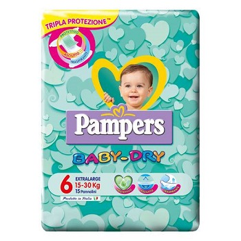 PANNOLINI PER BAMBINI PAMPERS BABY DRY DOWNCOUNT NO FLASH XL 15 PEZZI - Farmajoy