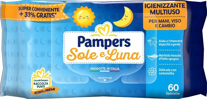 PAMPERS WIPES SOLE & LUNA EFFETTO SPUGNA 60 SALVIETTE - Farmafamily.it