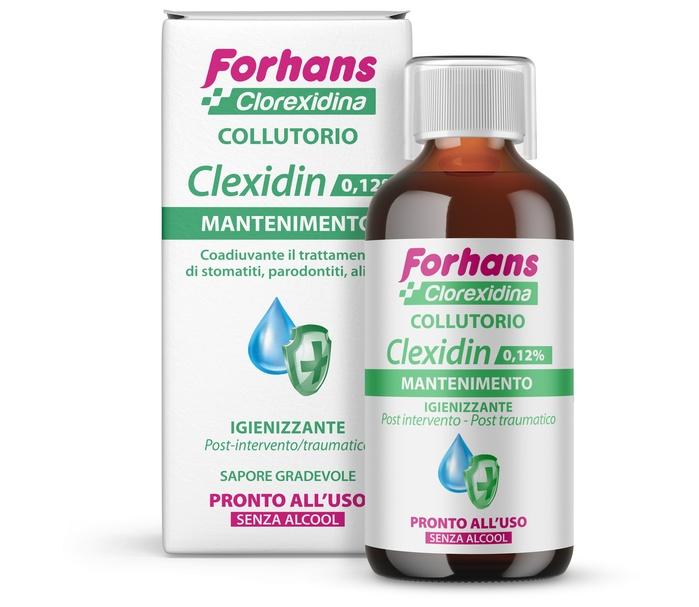 FORHANS COLLUTORIO CON CLOREXIDINA 0,12 CLEXIDIN SENZA ALCOOL 200 ML - farmaciadeglispeziali.it