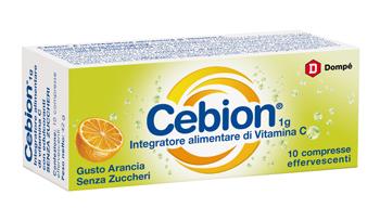 Cebion Integratore Alimentare di Vitamina C Arancia senza Zucchero 10 Compresse Effervescenti - Arcafarma.it