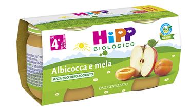 HIPP BIO OMOGENEIZZATO ALBICOCCA MELA 100% 2X80 G - Farmafamily.it