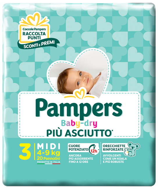 PAMPERS BABY DRY DOWNCOUNT MIDI 20 PEZZI - farmaciafalquigolfoparadiso.it