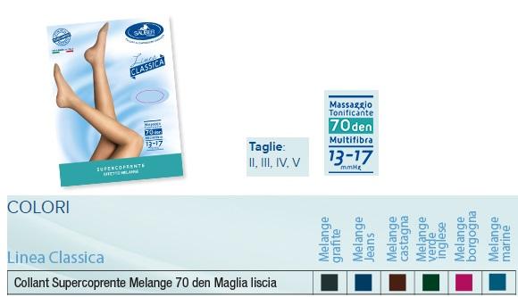 SAUBER COLLANT 70 DENARI SUPER COPRENTE MAGLIA LISCIA MELANGE MARINE 3 LINEA CLASSICA - Farmafirst.it