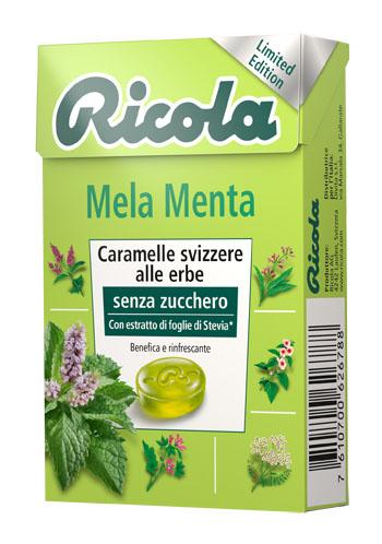 RICOLA MELA MENTA SENZA ZUCCHERO CARAMELLE SVIZZERE ALLE ERBE 50 G - farmaciadeglispeziali.it
