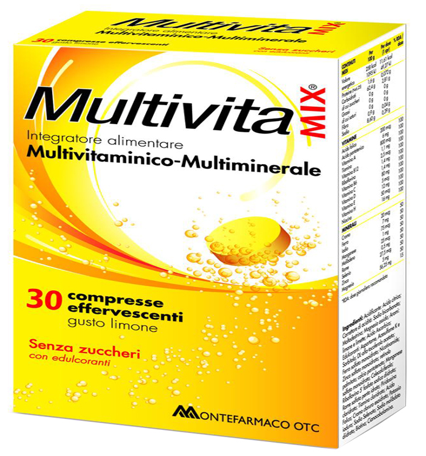 MULTIVITAMIX EFFERVESCENTE SENZA ZUCCHERO E SENZA GLUTINE 30CPR* - Farmacia Bartoli