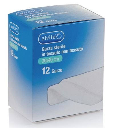 GARZA STERILE ALVITA IN TESSUTO NON TESSUTO 36X40CM 12 PEZZI - Farmacia Giotti