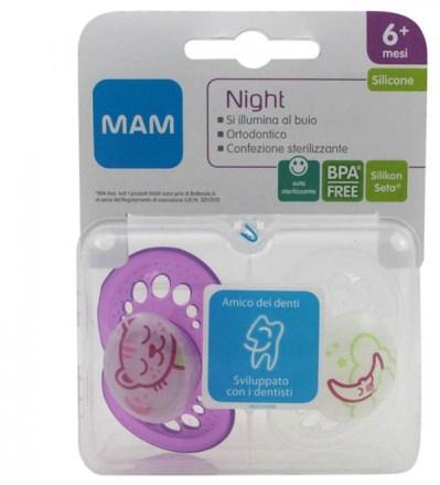 MAM NIGHT SUCCHIETTO 6+ SILICONE CONFEZIONE DOPPIA - Farmaci.me