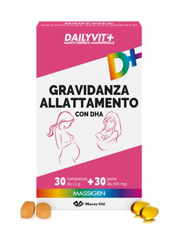 DAILYVIT+ GRAVIDANZA ALLATTAMENTO CON DHA MULTIVITAMINICO E MULTIMINERALE 30 COMPRESSE + 30 PERLE - Farmaconvenienza.it