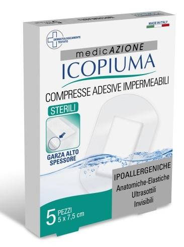 GARZA COMPRESSA ICOPIUMA MEDICATA POSTOPERATORIA 5X7,5 CM 5 PEZZI - Farmacia 33